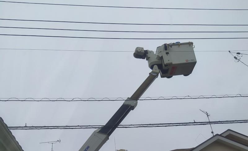 電線工事の様子